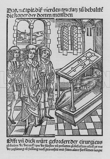 Illustration for a facsimile of The Book of Cirurgia by Hieronymus Brunschwig (Strassburg / Johann Gruninger / 1497) (R Lier, 1923).