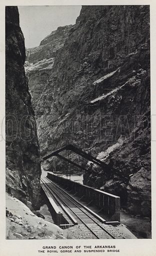 Grand Canon of the Arkansas, The Royal Gorge and Suspended Bridge. Illustration for The Canons of Colorado with photographs by W H Jackson printed and bound in Denver (Frank S Thayer, c 1900).