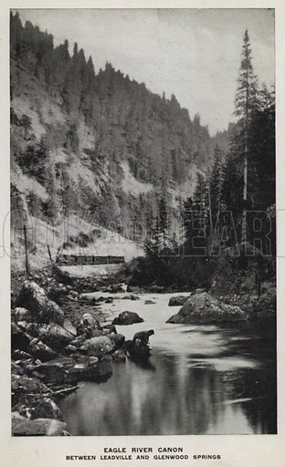 Eagle River Canon, Between Leadville and Glenwood Springs. Illustration for The Canons of Colorado with photographs by W H Jackson printed and bound in Denver (Frank S Thayer, c 1900).