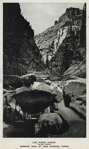 Los Pinos Canon, Toltec Gorge, Showing Train of Cars Entering Tunnel. Illustration for The Canons of Colorado with photographs by W H Jackson printed and bound in Denver (Frank S Thayer, c 1900).