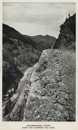 Uncompahgre Canon, Ouray and Silverton Toll Road. Illustration for The Canons of Colorado with photographs by W H Jackson printed and bound in Denver (Frank S Thayer, c 1900).