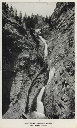 Cheyenne Canon, South, The Seven Falls. Illustration for The Canons of Colorado with photographs by W H Jackson printed and bound in Denver (Frank S Thayer, c 1900).