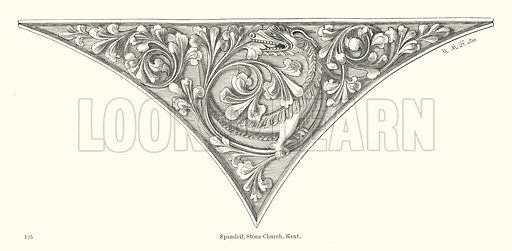 Spandril, Stone Church, Kent. Illustration for The Characteristics of Styles, An Introduction to the Study of the History of Ornamental Art, by Ralph N Wornum (8th edn, Chapman and Hall, 1893).
