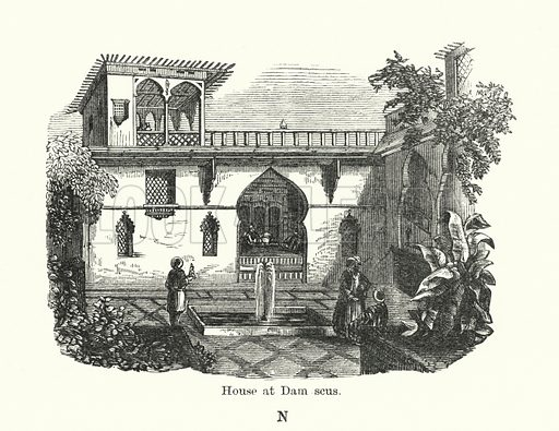 House at Damascus. Illustration for The Characteristics of Styles, An Introduction to the Study of the History of Ornamental Art, by Ralph N Wornum (8th edn, Chapman and Hall, 1893).
