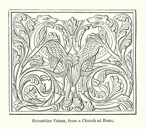 Byzantine Frieze, from a Church at Bonn. Illustration for The Characteristics of Styles, An Introduction to the Study of the History of Ornamental Art, by Ralph N Wornum (8th edn, Chapman and Hall, 1893).