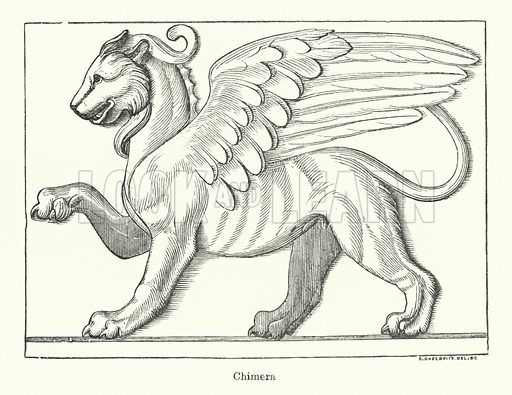 Chimera. Illustration for The Characteristics of Styles, An Introduction to the Study of the History of Ornamental Art, by Ralph N Wornum (8th edn, Chapman and Hall, 1893).