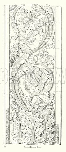 Ancient Pilaster, Rome. Illustration for The Characteristics of Styles, An Introduction to the Study of the History of Ornamental Art, by Ralph N Wornum (8th edn, Chapman and Hall, 1893).