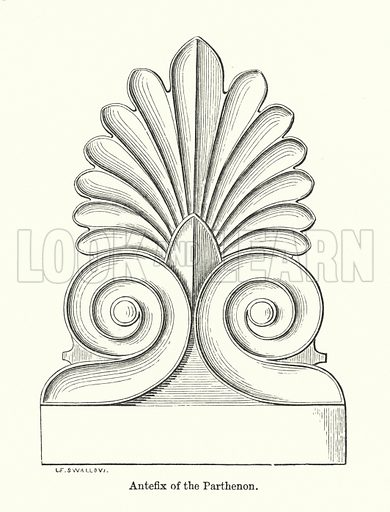Antefix of the Parthenon. Illustration for The Characteristics of Styles, An Introduction to the Study of the History of Ornamental Art, by Ralph N Wornum (8th edn, Chapman and Hall, 1893).