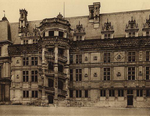 Chateau de Blois. Illustration for Les Chateaux de la Loire by Jean-M Schweitzer (Yvon, c 1910).  Gravure printed.
