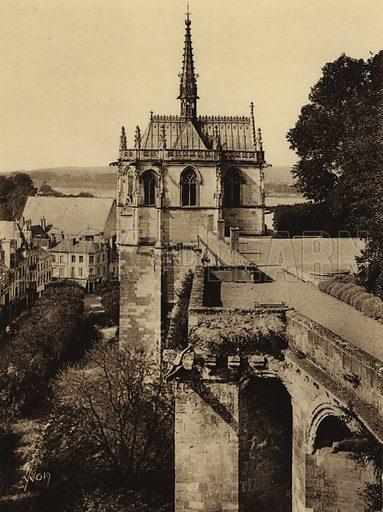 Chateau d'Amboise. Illustration for Les Chateaux de la Loire by Jean-M Schweitzer (Yvon, c 1910).  Gravure printed.