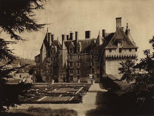 Chateau de Langeais. Illustration for Les Chateaux de la Loire by Jean-M Schweitzer (Yvon, c 1910).  Gravure printed.
