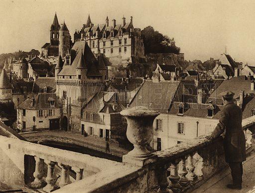 Chateau de Loches. Illustration for Les Chateaux de la Loire by Jean-M Schweitzer (Yvon, c 1910).  Gravure printed.