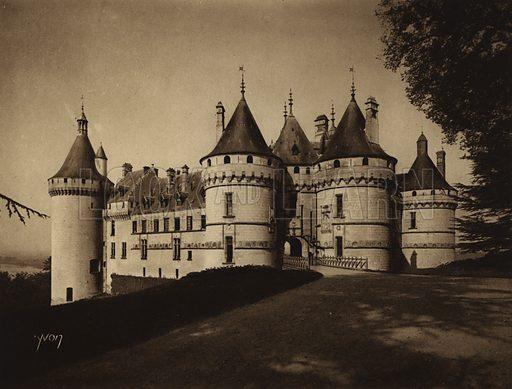 Chateau de Chaumont sur Loire. Illustration for Les Chateaux de la Loire by Jean-M Schweitzer (Yvon, c 1910).  Gravure printed.
