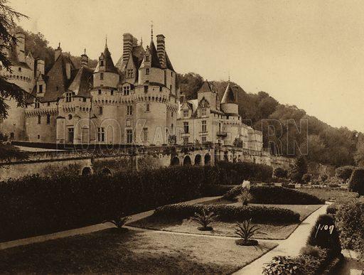 Chateau de Rigny Usse. Illustration for Les Chateaux de la Loire by Jean-M Schweitzer (Yvon, c 1910).  Gravure printed.