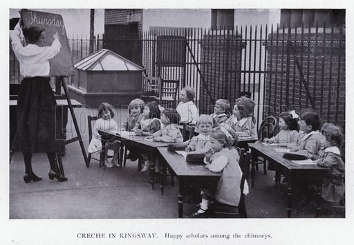 Creche in Kingsway; Happy scholars among the chimneys. Illustration for The Child in Art and Nature by Adolphe Armand Braun (for The Postal University by Batsford, c 1921).