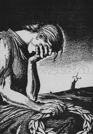 """""""Victory without a name - laurel wreath laid in desolation and sorrow."""" Illustration for The English at War by """"Cassandra"""" with five drawings by Zec (Secker and Warburg, 1941)."""