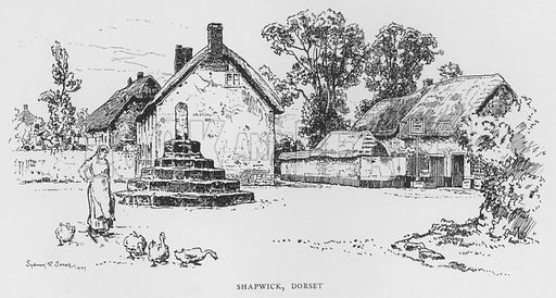 Shapwick, Dorset. Illustration for The Charm of the English Village by P H Ditchfield (Batsford, 1908).