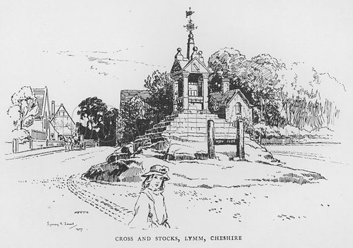 Cross and Stocks, Lymm, Cheshire. Illustration for The Charm of the English Village by P H Ditchfield (Batsford, 1908).