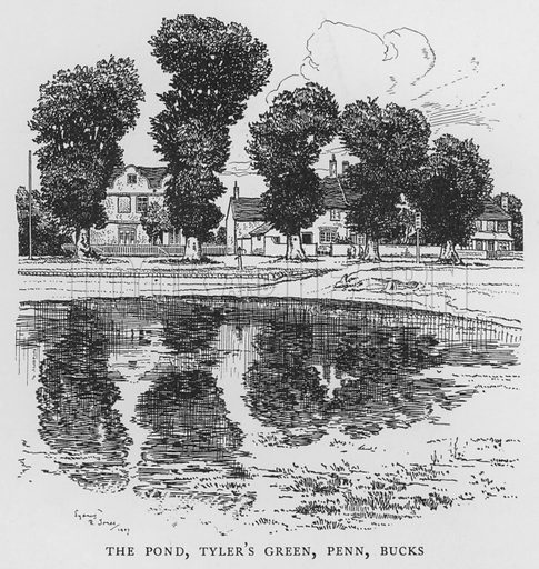 The Pond, Tyler's Green, Penn, Buckinghamshire. Illustration for The Charm of the English Village by P H Ditchfield (Batsford, 1908).