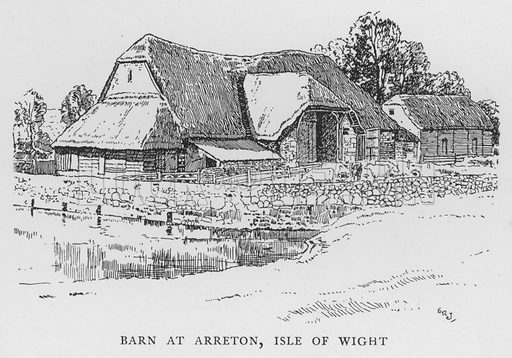 Barn at Arreton, Isle of Wight. Illustration for The Charm of the English Village by P H Ditchfield (Batsford, 1908).