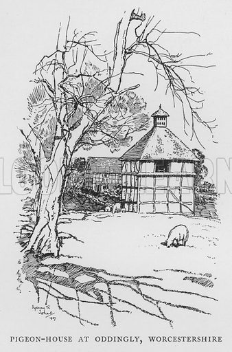 Pigeon-House at Oddingly, Worcestershire. Illustration for The Charm of the English Village by P H Ditchfield (Batsford, 1908).