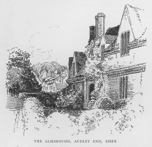 The Almshouses, Audley End, Essex. Illustration for The Charm of the English Village by P H Ditchfield (Batsford, 1908).