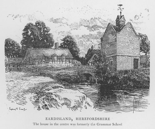 Eardisland, Herefordshire. Illustration for The Charm of the English Village by P H Ditchfield (Batsford, 1908).