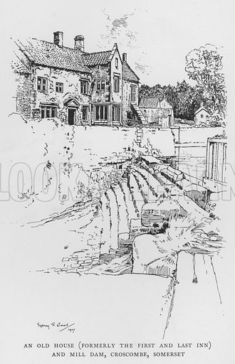 An Old House, formerly the First and Last Inn, and Mill Dam, Croscombe, Somerset. Illustration for The Charm of the English Village by P H Ditchfield (Batsford, 1908).