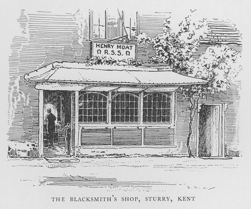 The Blacksmith's Shop, Sturry, Kent. Illustration for The Charm of the English Village by P H Ditchfield (Batsford, 1908).