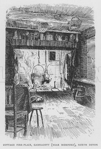Cottage Fire-Place, Garnacott, near Bideford, North Devon. Illustration for The Charm of the English Village by P H Ditchfield (Batsford, 1908).