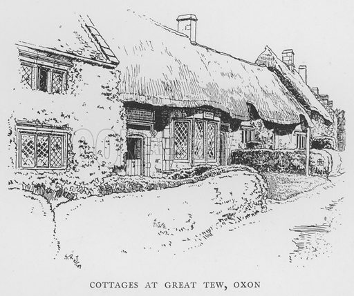 Cottages at Great Tew, Oxfordshire. Illustration for The Charm of the English Village by P H Ditchfield (Batsford, 1908).