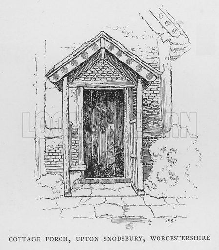 Cottage Porch, Upton Snodsbury, Worcestershire. Illustration for The Charm of the English Village by P H Ditchfield (Batsford, 1908).