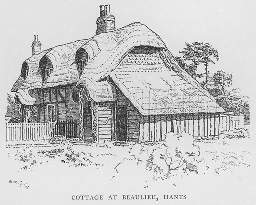 Cottage at Beaulieu, Hampshire. Illustration for The Charm of the English Village by P H Ditchfield (Batsford, 1908).