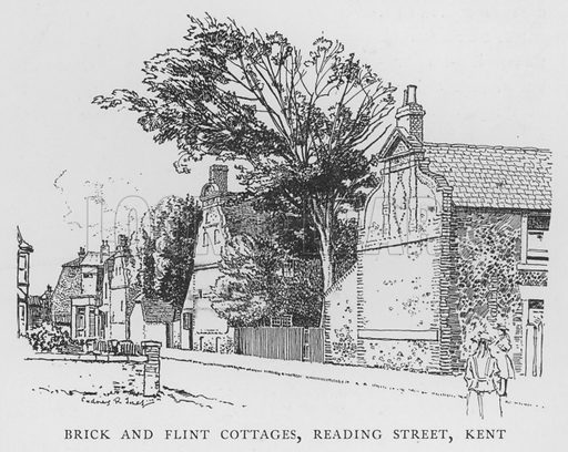 Brick and Flint Cottages, Reading Street, Kent. Illustration for The Charm of the English Village by P H Ditchfield (Batsford, 1908).