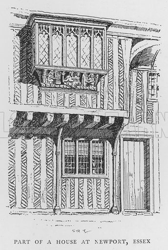 Part of a House at Newport, Essex. Illustration for The Charm of the English Village by P H Ditchfield (Batsford, 1908).