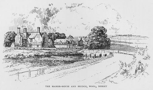 The Manor-House and Bridge, Wool, Dorset. Illustration for The Charm of the English Village by P H Ditchfield (Batsford, 1908).
