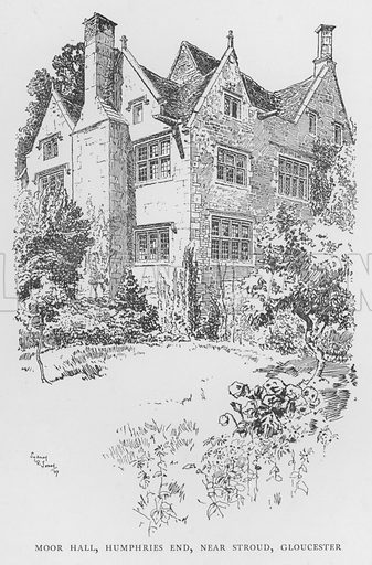 Moor Hall, Humphries End, near Stroud, Gloucester. Illustration for The Charm of the English Village by P H Ditchfield (Batsford, 1908).