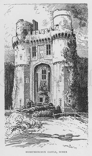 Hurstmonceux Castle, Sussex. Illustration for The Charm of the English Village by P H Ditchfield (Batsford, 1908).