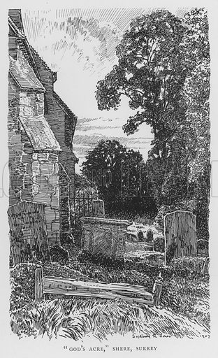 """""""God's Acre,"""" Shere, Surrey. Illustration for The Charm of the English Village by P H Ditchfield (Batsford, 1908)."""