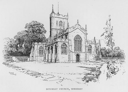 Ditcheat Church, Somerset. Illustration for The Charm of the English Village by P H Ditchfield (Batsford, 1908).