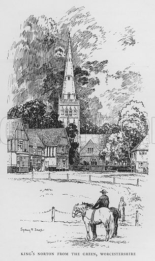 King's Norton from the Green, Worcestershire. Illustration for The Charm of the English Village by P H Ditchfield (Batsford, 1908).