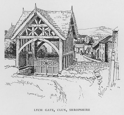 Lych Gate, Clun, Shropshire. Illustration for The Charm of the English Village by P H Ditchfield (Batsford, 1908).