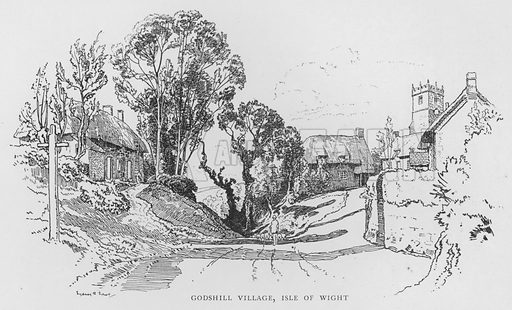 Godshill Village, Isle of Wight. Illustration for The Charm of the English Village by P H Ditchfield (Batsford, 1908).