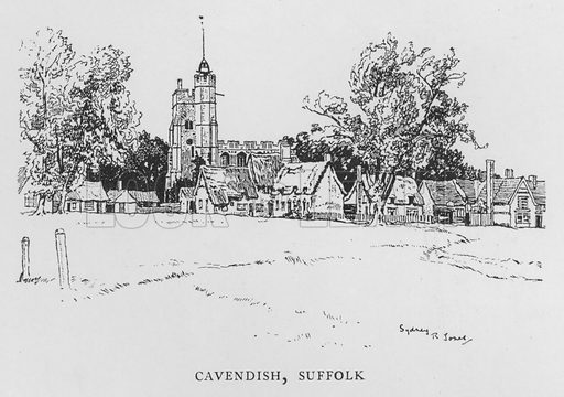 Cavendish, Suffolk. Illustration for The Charm of the English Village by P H Ditchfield (Batsford, 1908).