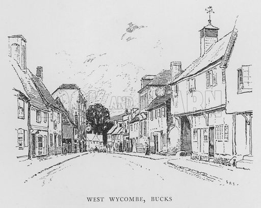 West Wycombe, Buckinghamshire. Illustration for The Charm of the English Village by P H Ditchfield (Batsford, 1908).