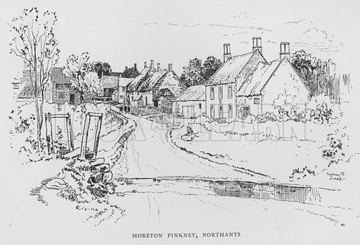 Moreton Pinkney, Northamptonshire. Illustration for The Charm of the English Village by P H Ditchfield (Batsford, 1908).