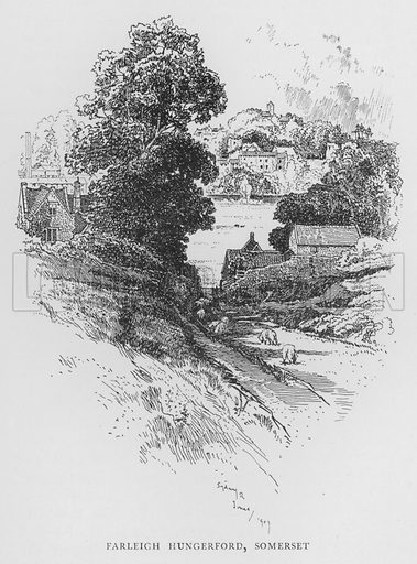 Farleigh Hungerford, Somerset. Illustration for The Charm of the English Village by P H Ditchfield (Batsford, 1908).