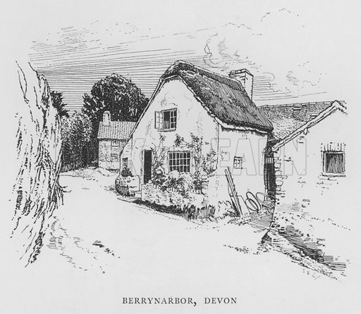 Berrynarbor, Devon. Illustration for The Charm of the English Village by P H Ditchfield (Batsford, 1908).