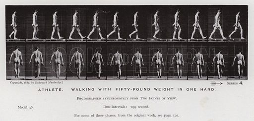 Athlete, walking with fifty-pound weight in one hand. Illustration for The Human Figure in Motion, An Electro-Photographic Investigation of Consecutive Phases of Muscular Actions by Eadweard Muybridge (6th edn, Chapman and Hall, nd).