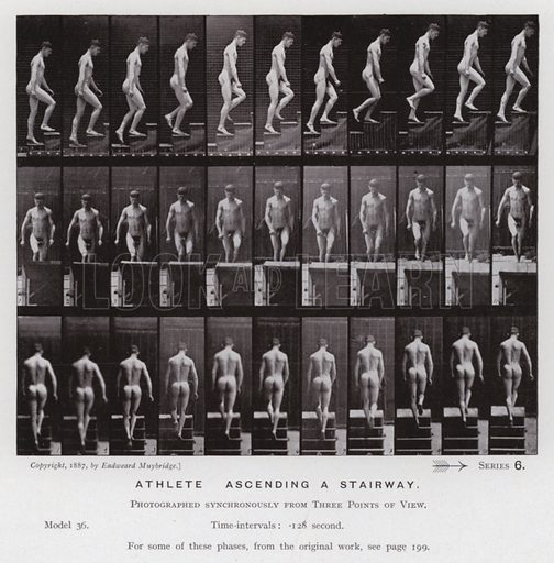 Athlete, ascending an stairway. Illustration for The Human Figure in Motion, An Electro-Photographic Investigation of Consecutive Phases of Muscular Actions by Eadweard Muybridge (6th edn, Chapman and Hall, nd).